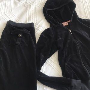 Juicy Couture Black Velour Tracksuit SZ L